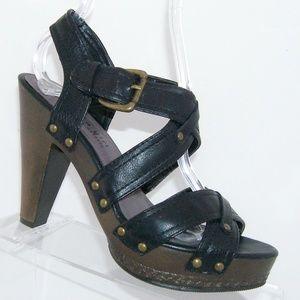 Madden Girl Emperer black buckle strappy heels 8